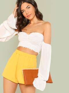Flounce Sleeve Shirred Crop Bardot Top