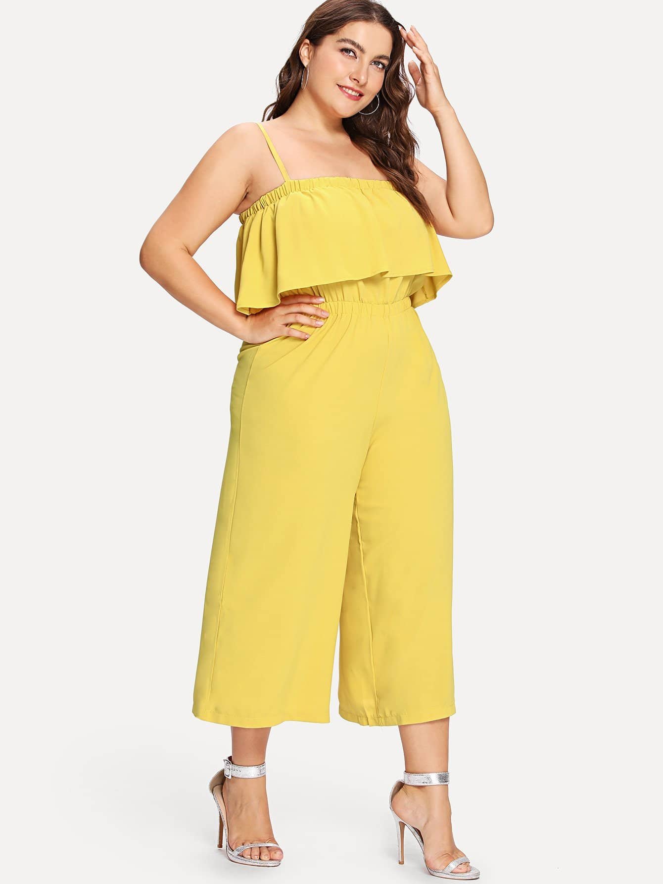 Solid Ruffle Cami Jumpsuit ruffle embellished flower print cami jumpsuit