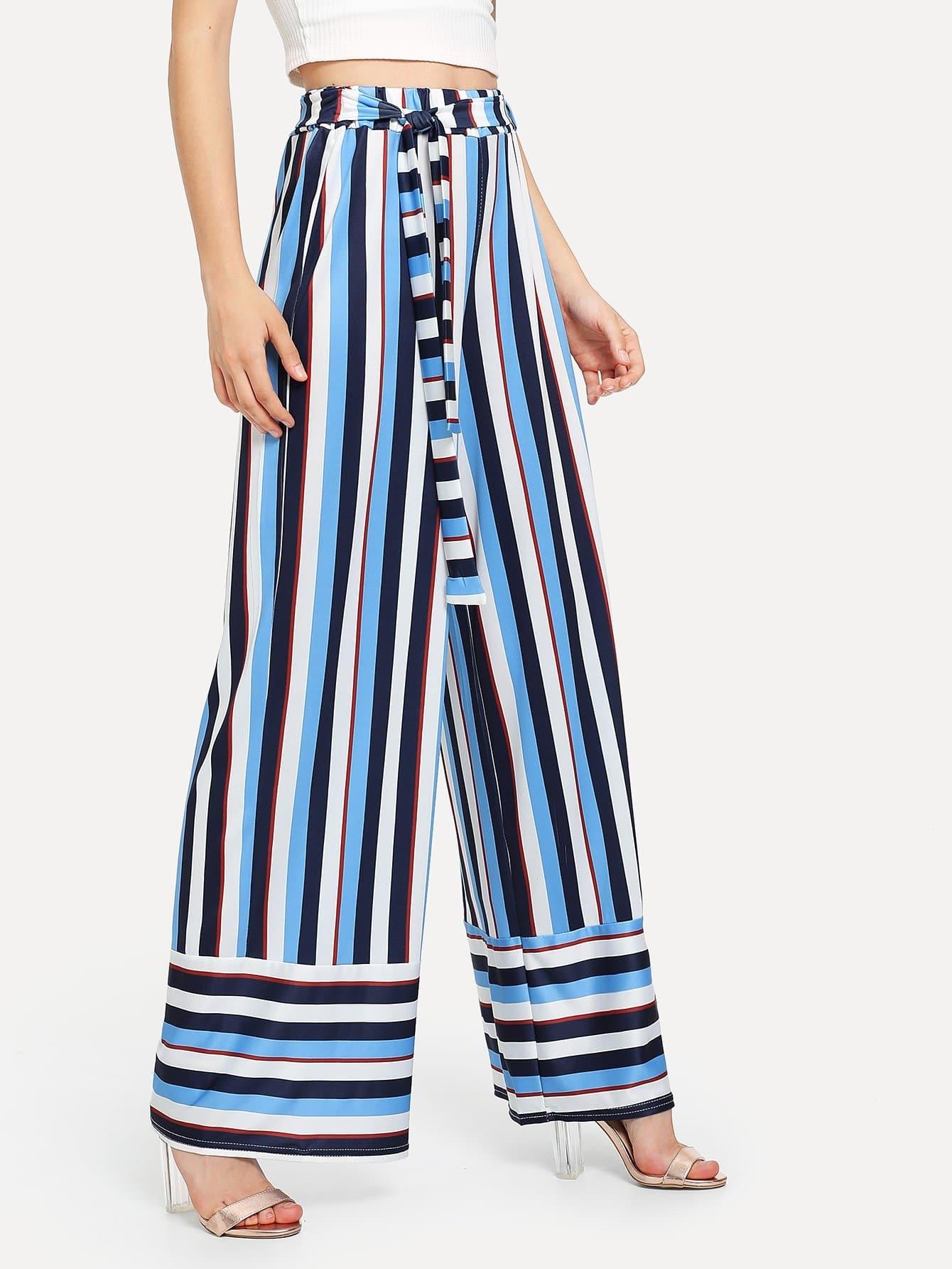 Self Tie Waist Striped Wide Leg Pants striped self tie wide leg pants