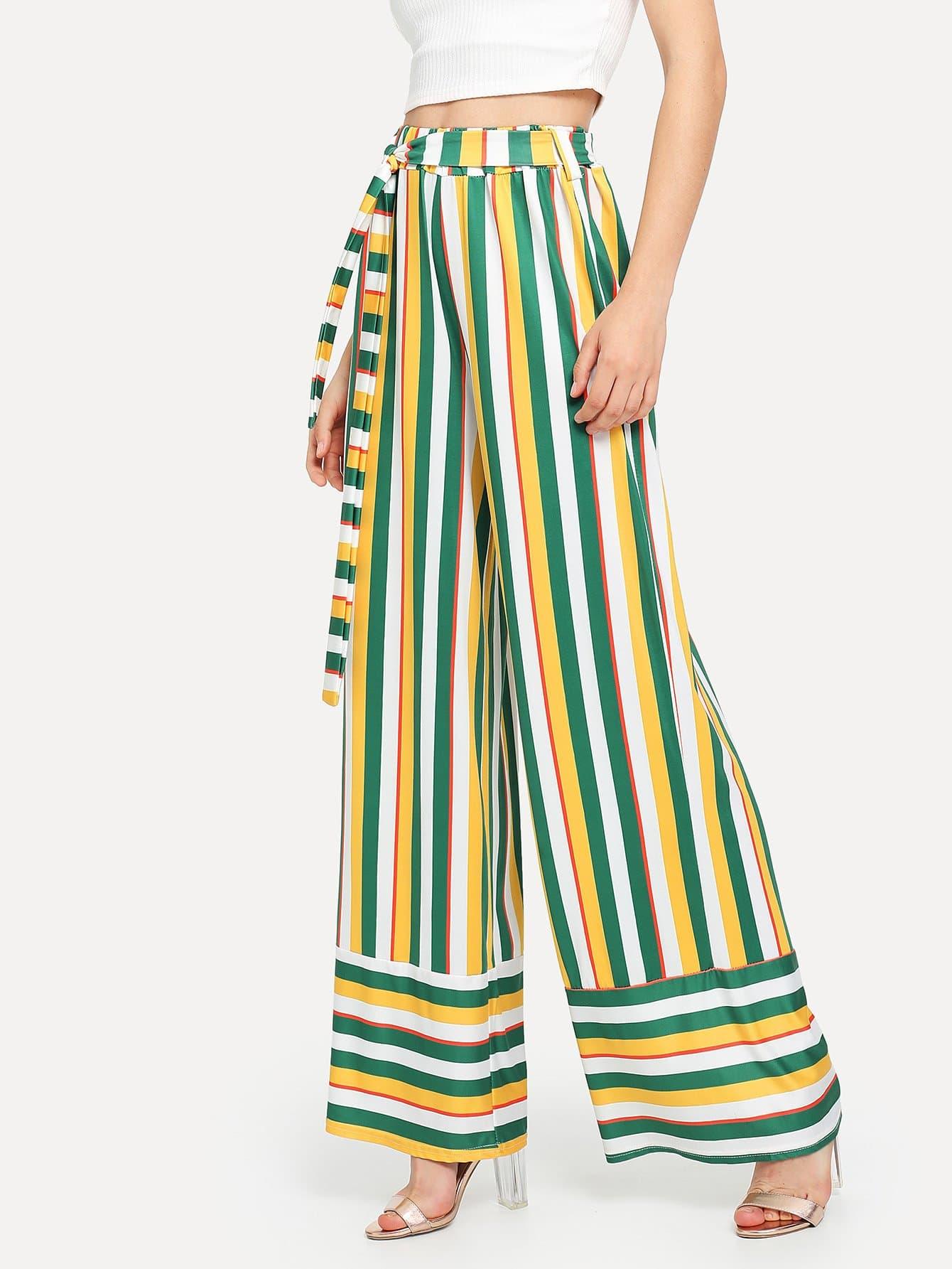 Self Tie Waist Striped Wide Leg Pants striped self tie waist dress