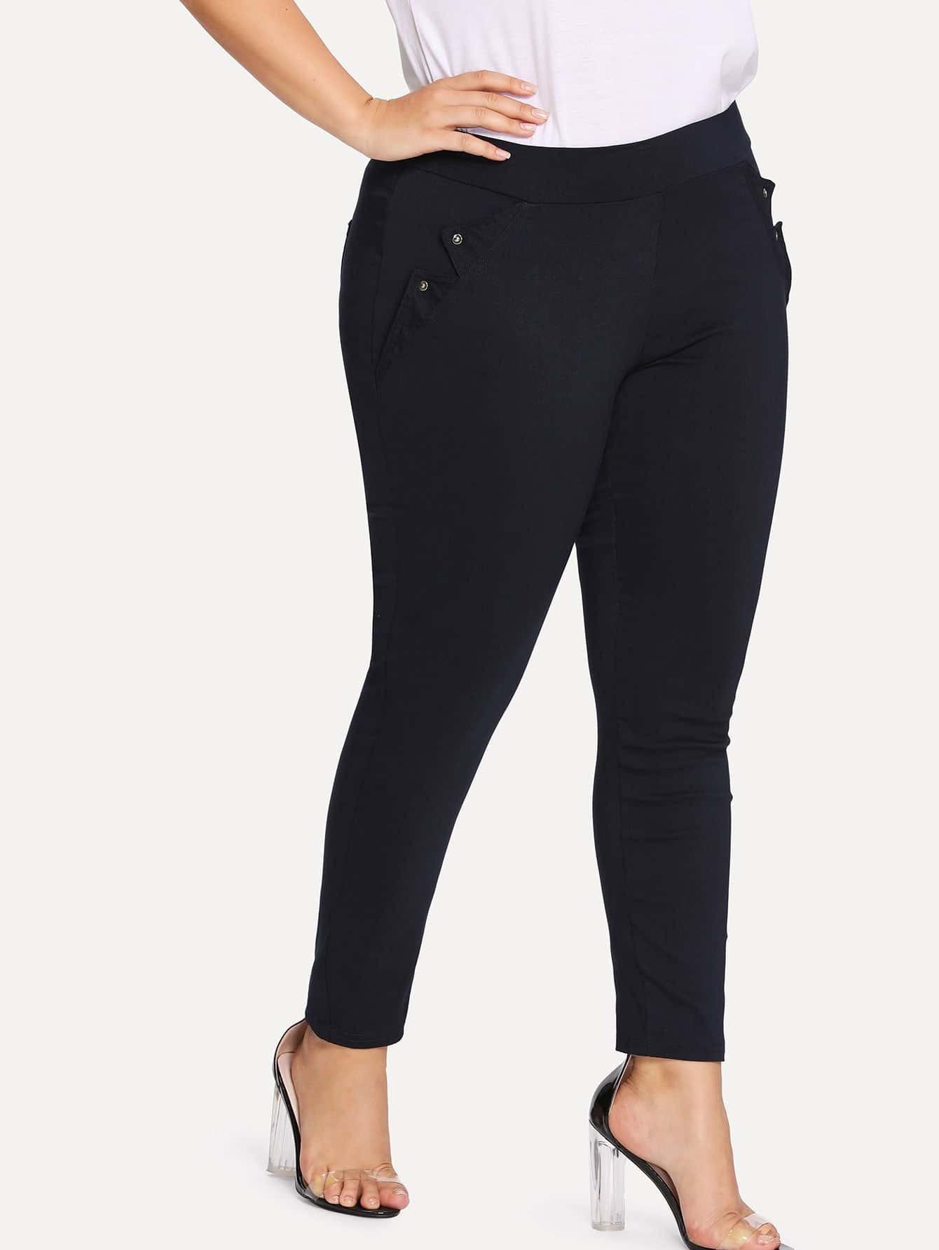 Solid Skinny Pants zip back skinny pants