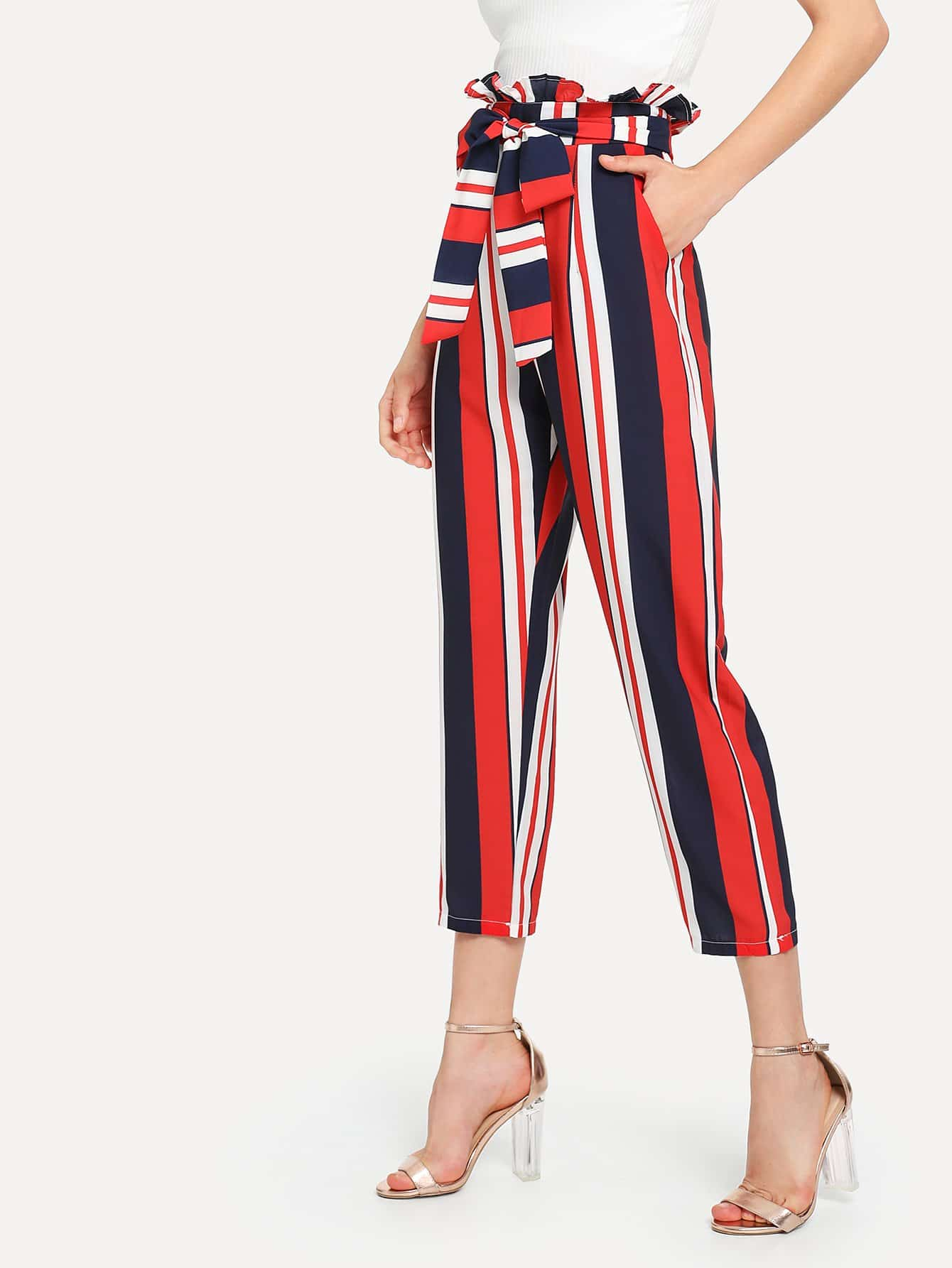 Frill Waist Self Tie Striped Pants striped ruffled waist self tie pants