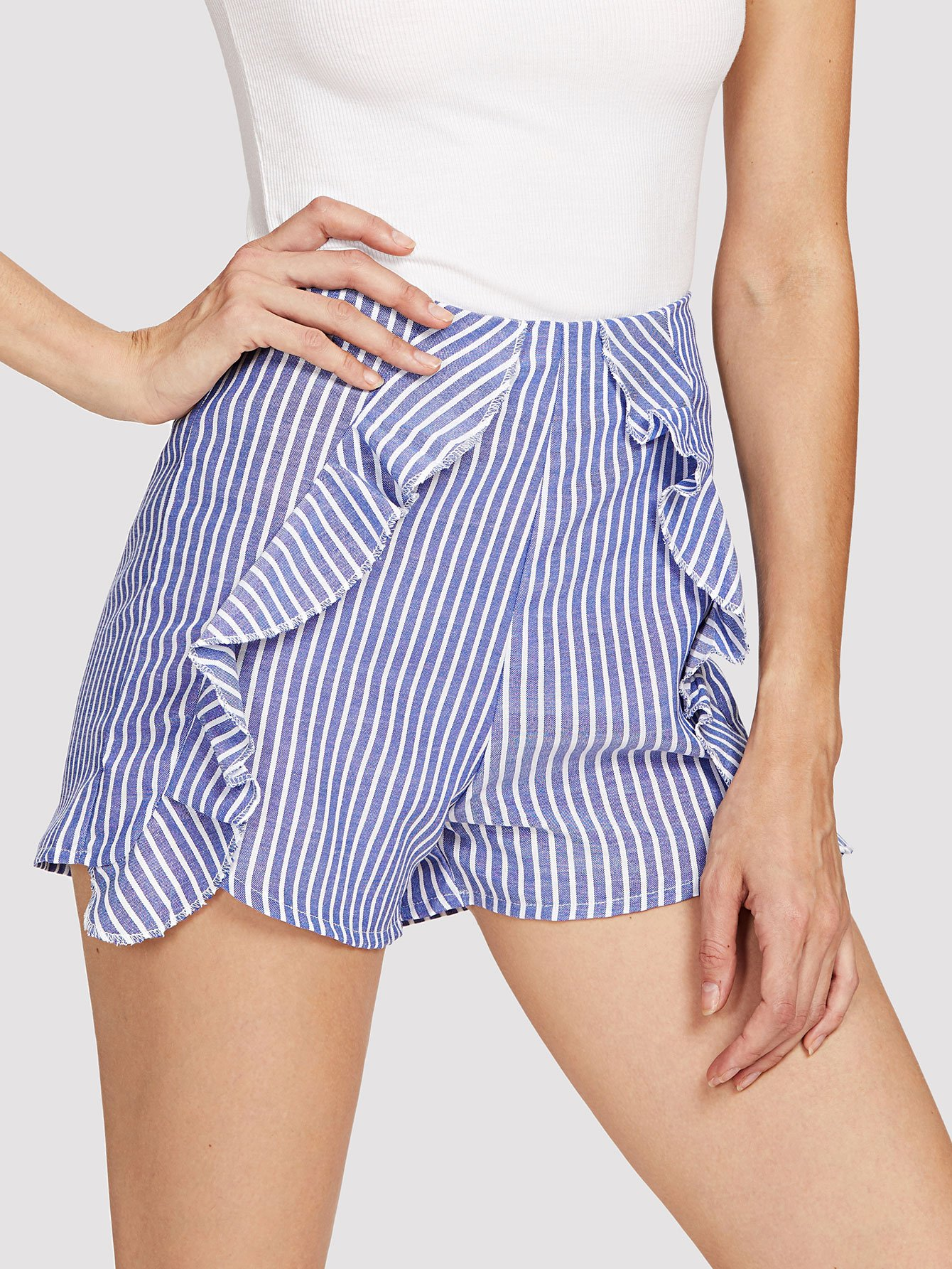 Striped Ruffle Trim Shorts ruffle trim striped romper