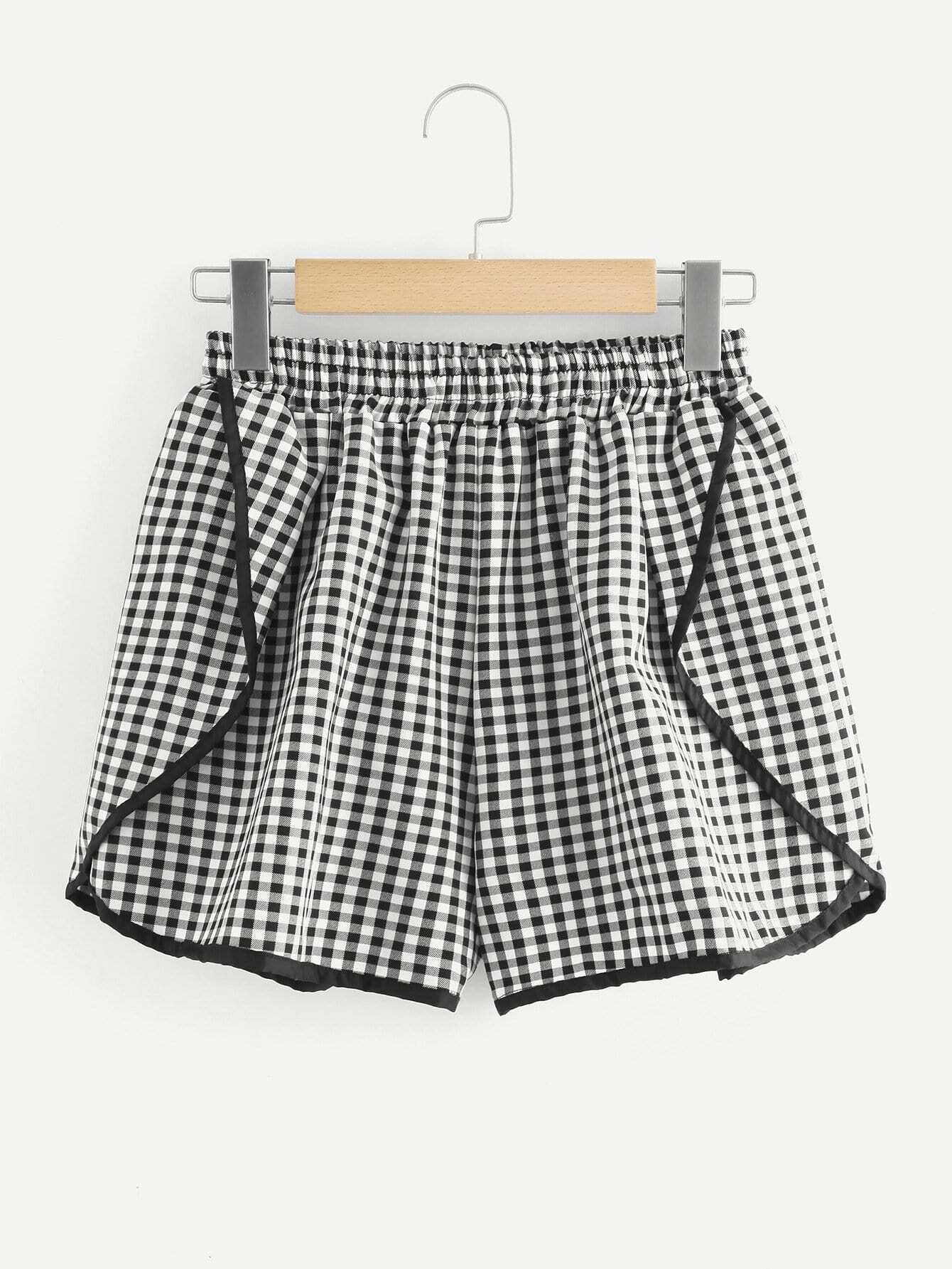 Contrast Binding Gingham Shorts ланч бокс rosenberg rsi 230001 960ml