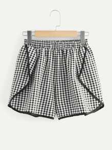 Contrast Binding Gingham Shorts