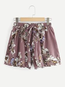 Drawstring Waist Floral Print Shorts