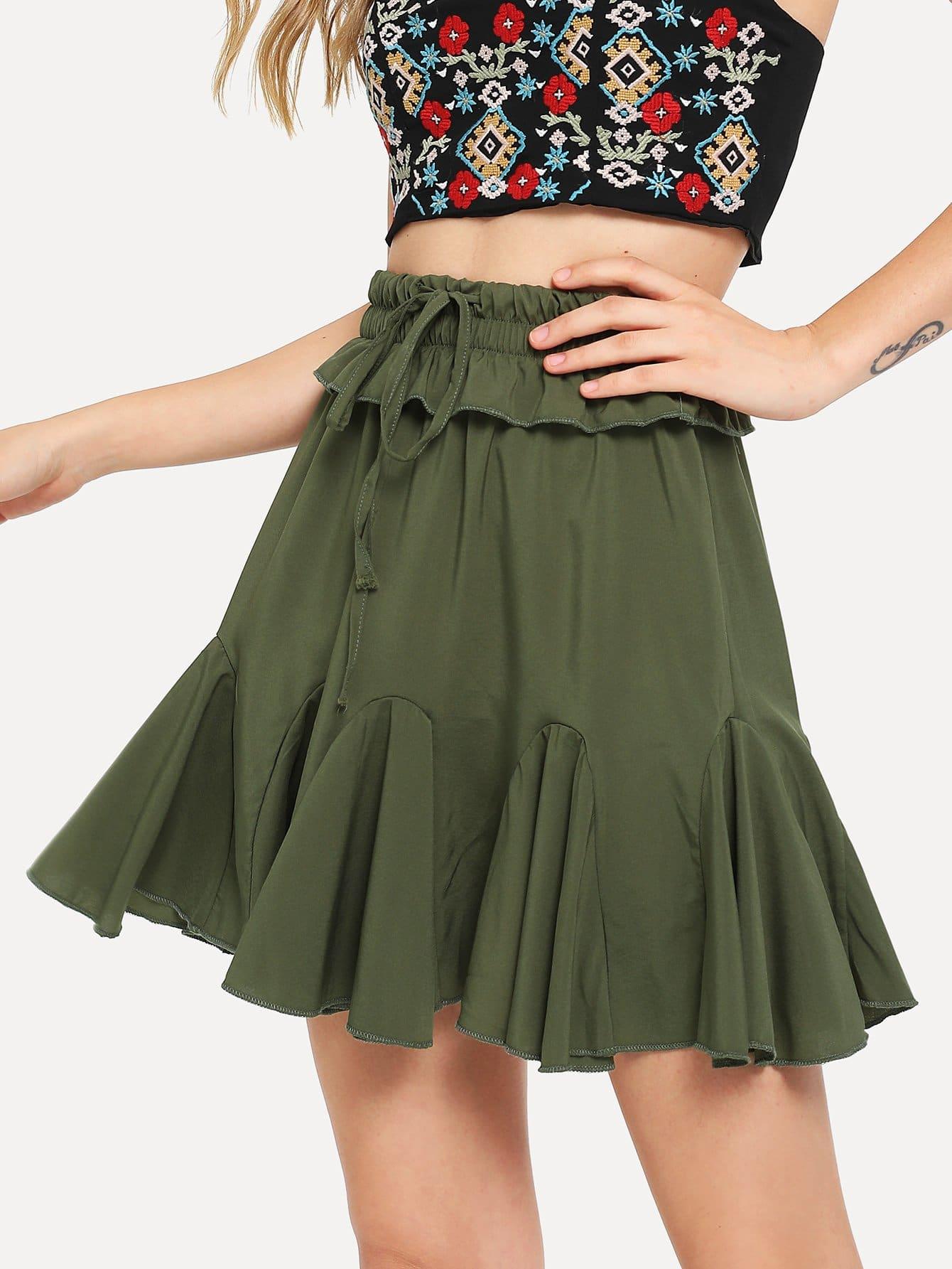 Drawstring Waist Ruffle Skirt ruffle waist zip back scallop hem embroidered gingham skirt