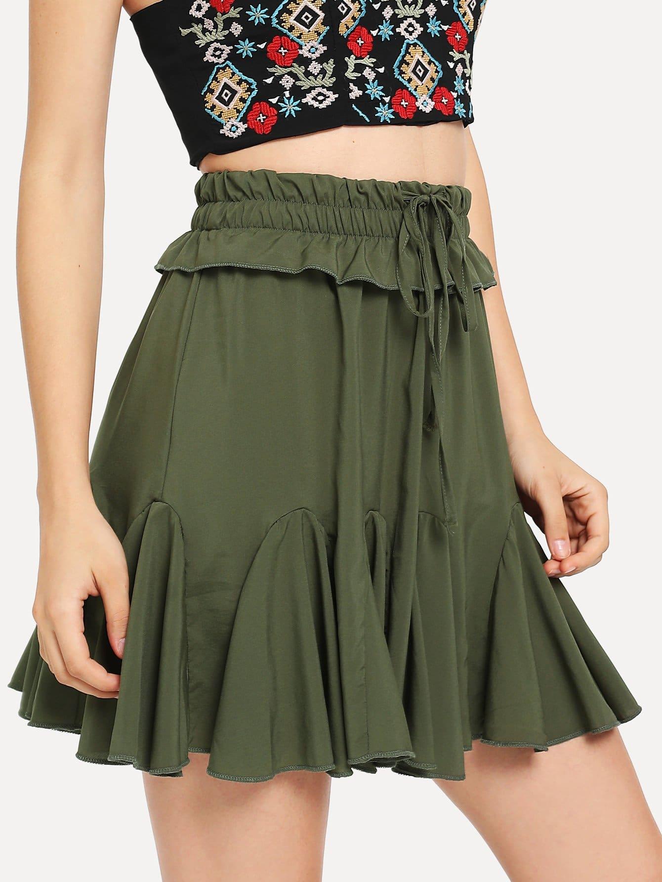 Drawstring Waist Ruffle Skirt plus size ruffle drawstring waist gaucho pants