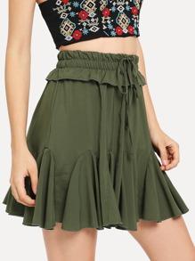 Drawstring Waist Ruffle Skirt