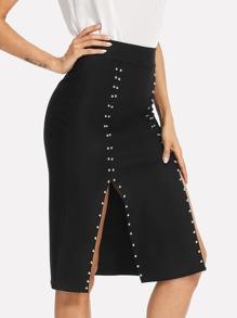 Beaded Detail Split Side Skirt