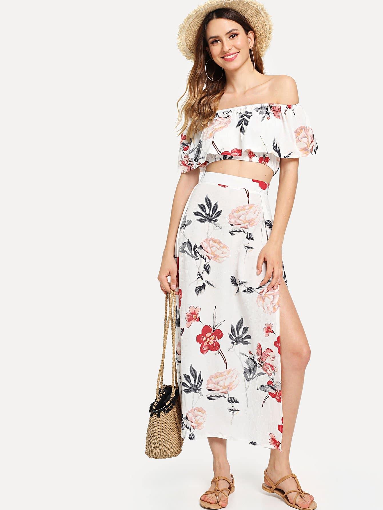 Bardot Floral Print Crop Top With Slit Side Skirt black choker sleeveless crop top
