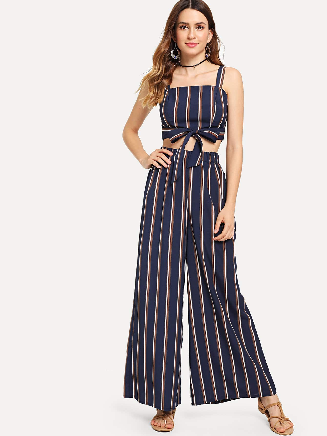 Tie Front Striped Crop Top With Wide Leg Pants bow tie side wide leg pants