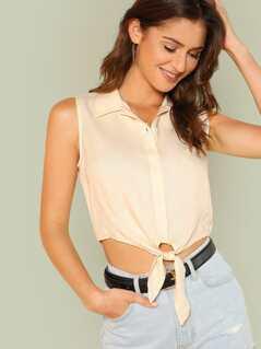 Knot Hem Button Up Sleeveless Shirt