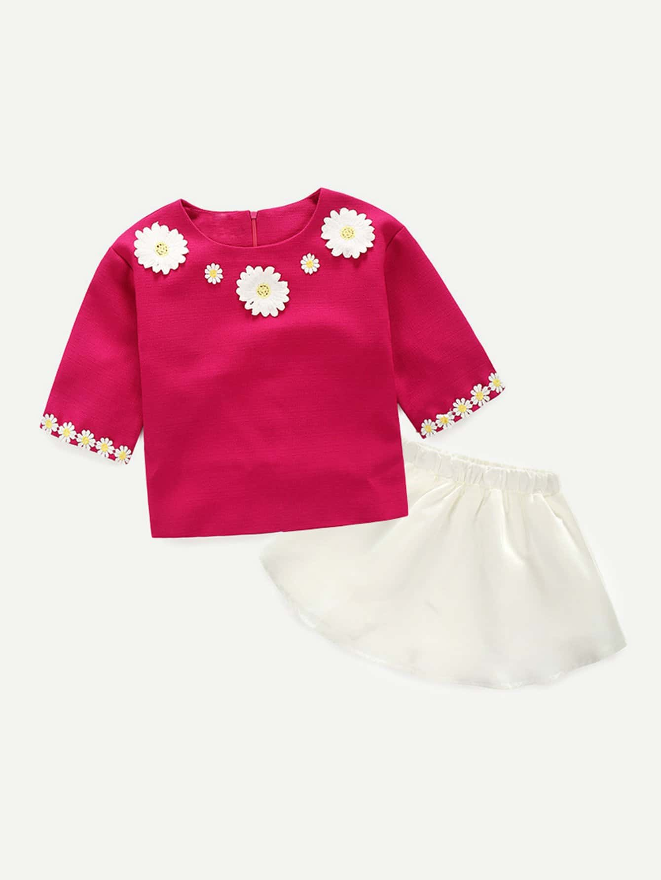 Girls Lace Panel Top With Skirt halloween white skull kindergarten princess grace plain red cotton twin bow top rwb star satin trim skirt girls outfit set nb 8y