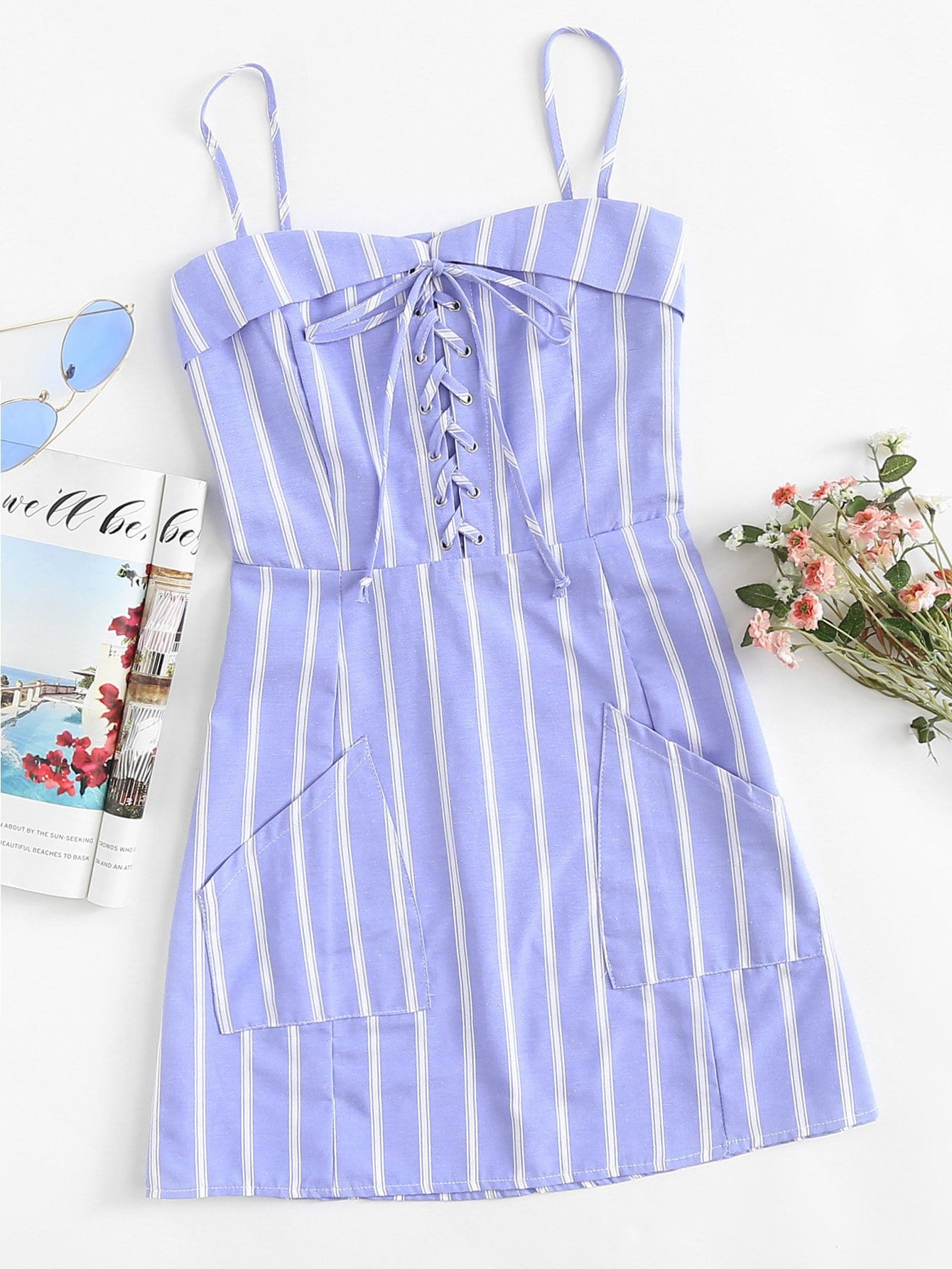 Eyelet Lace Up Striped Cami Dress
