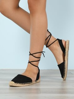 Closed Toe Espadrille Trim Ankle Wrap Sandals