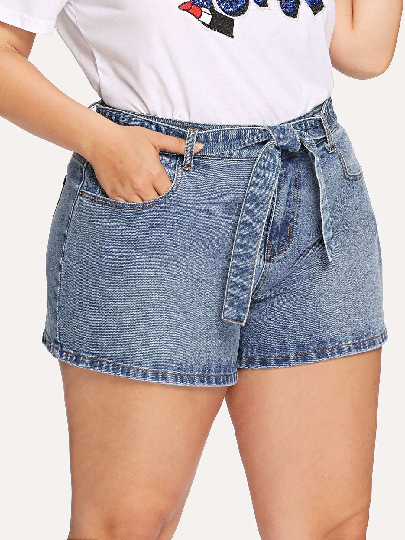 Self Belted Denim Shorts self belted boxed pleated shorts