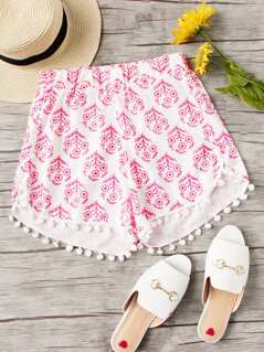 Floral Pom Pom Trim Beach Shorts