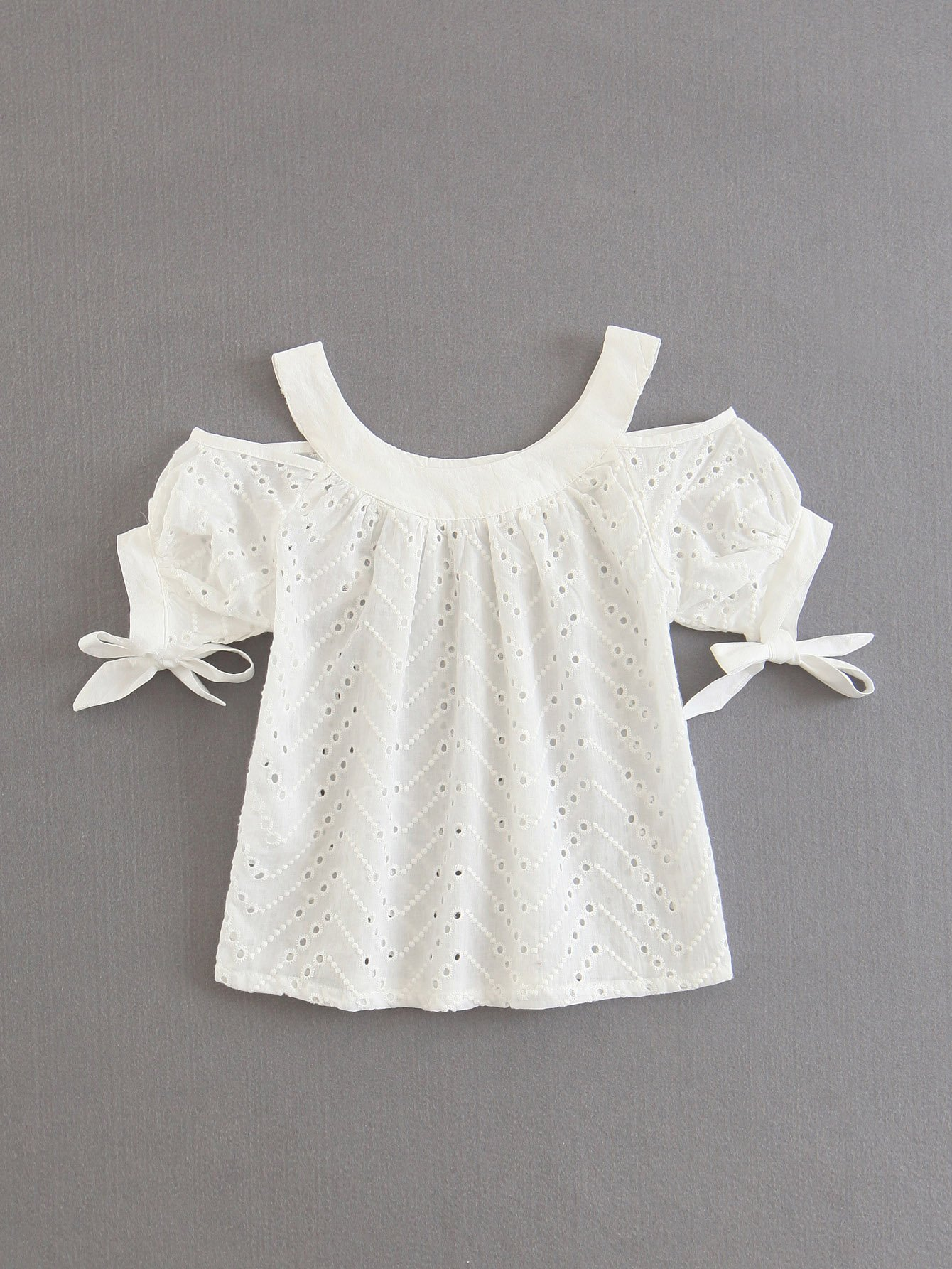 Eyelet Embroidered Open Shoulder Tie Cuff Blouse pinstriped open shoulder tie detail embroidery blouse