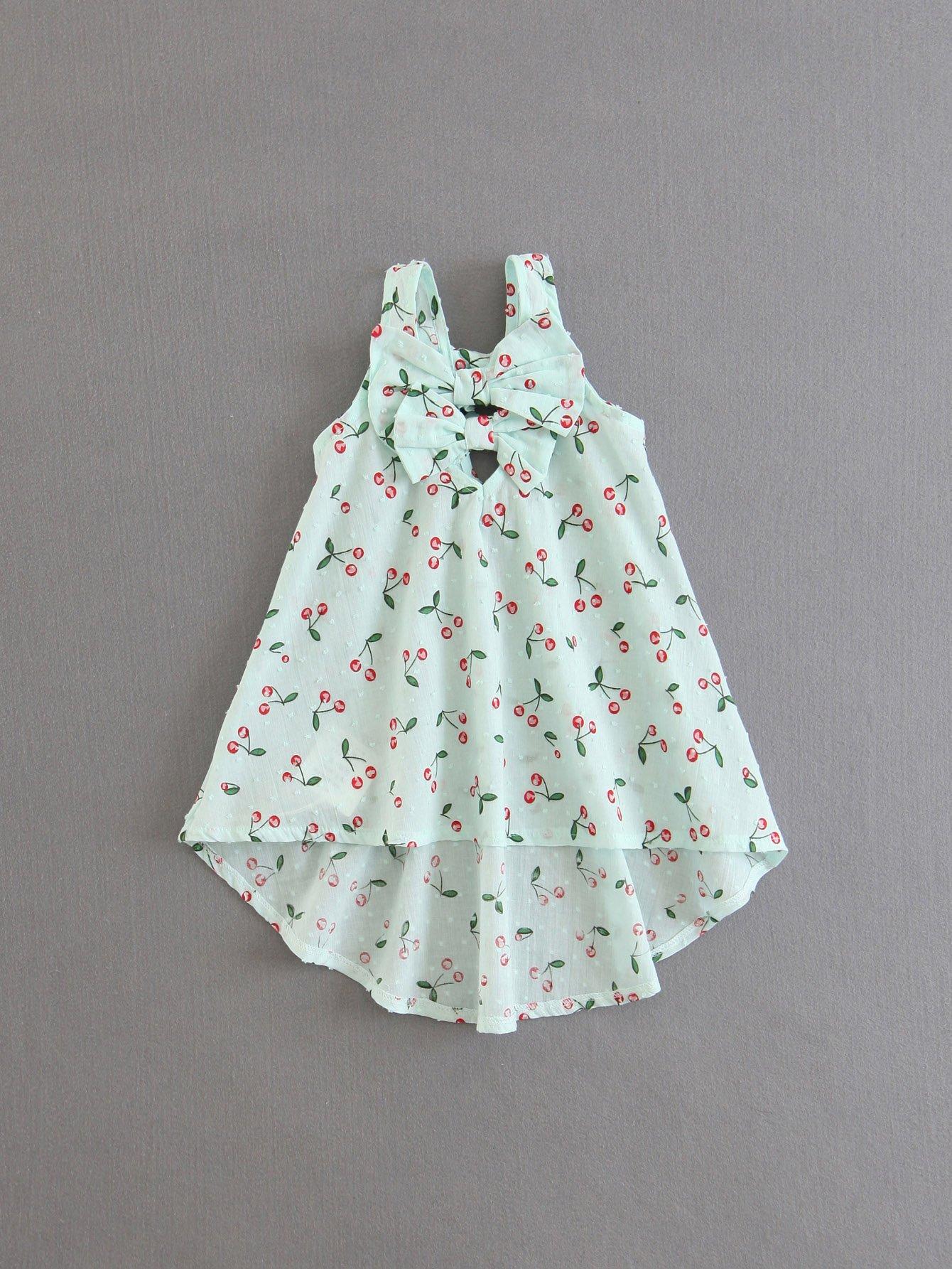 Bow Detail Cherry Print Dip Hem Dress цена 2017