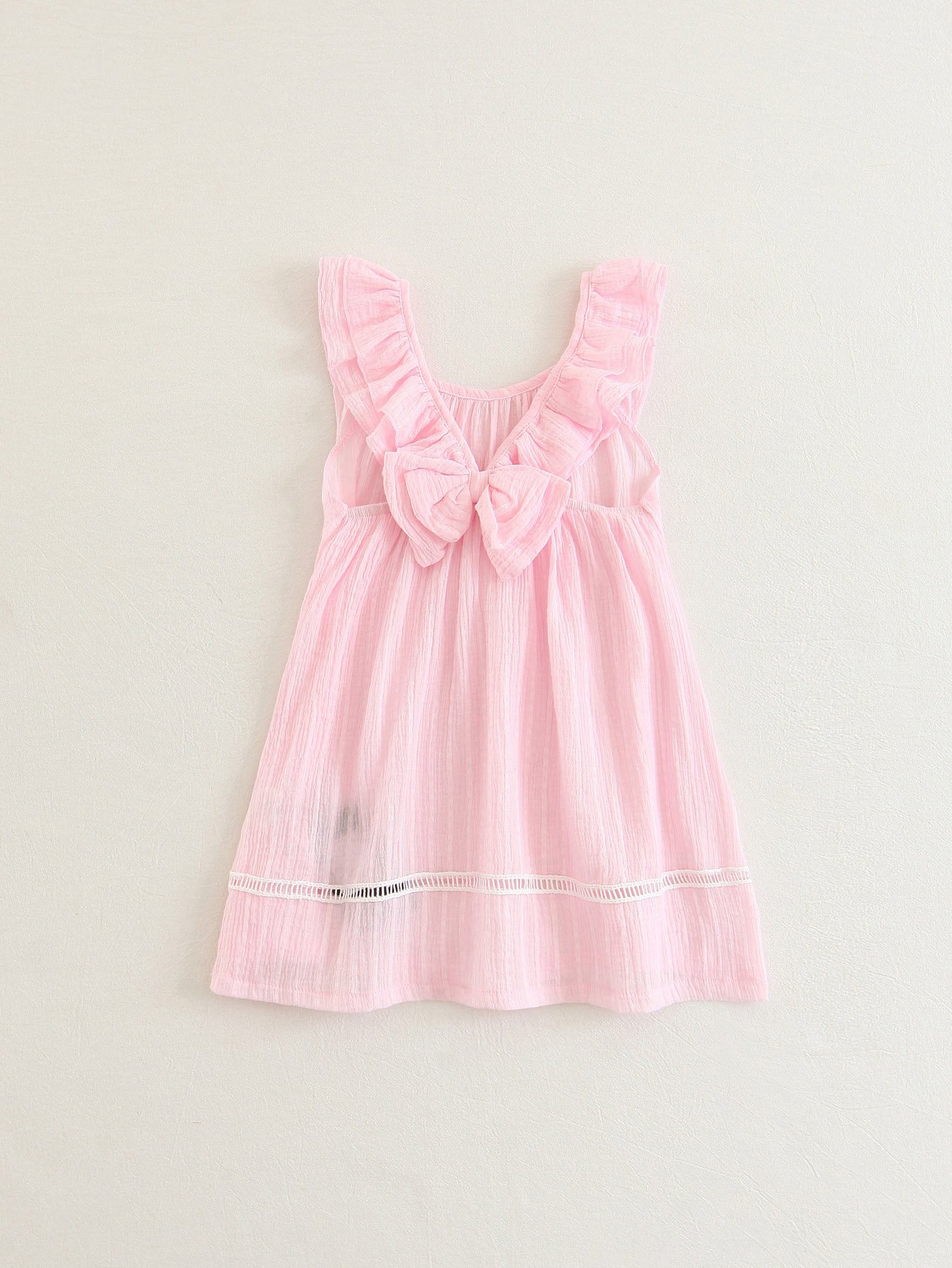 Girls Lace Panel Bow Back Ruffle Dress коммутатор tp link tl sf1016 неуправляемый настольный 19u 16x10 100base tx