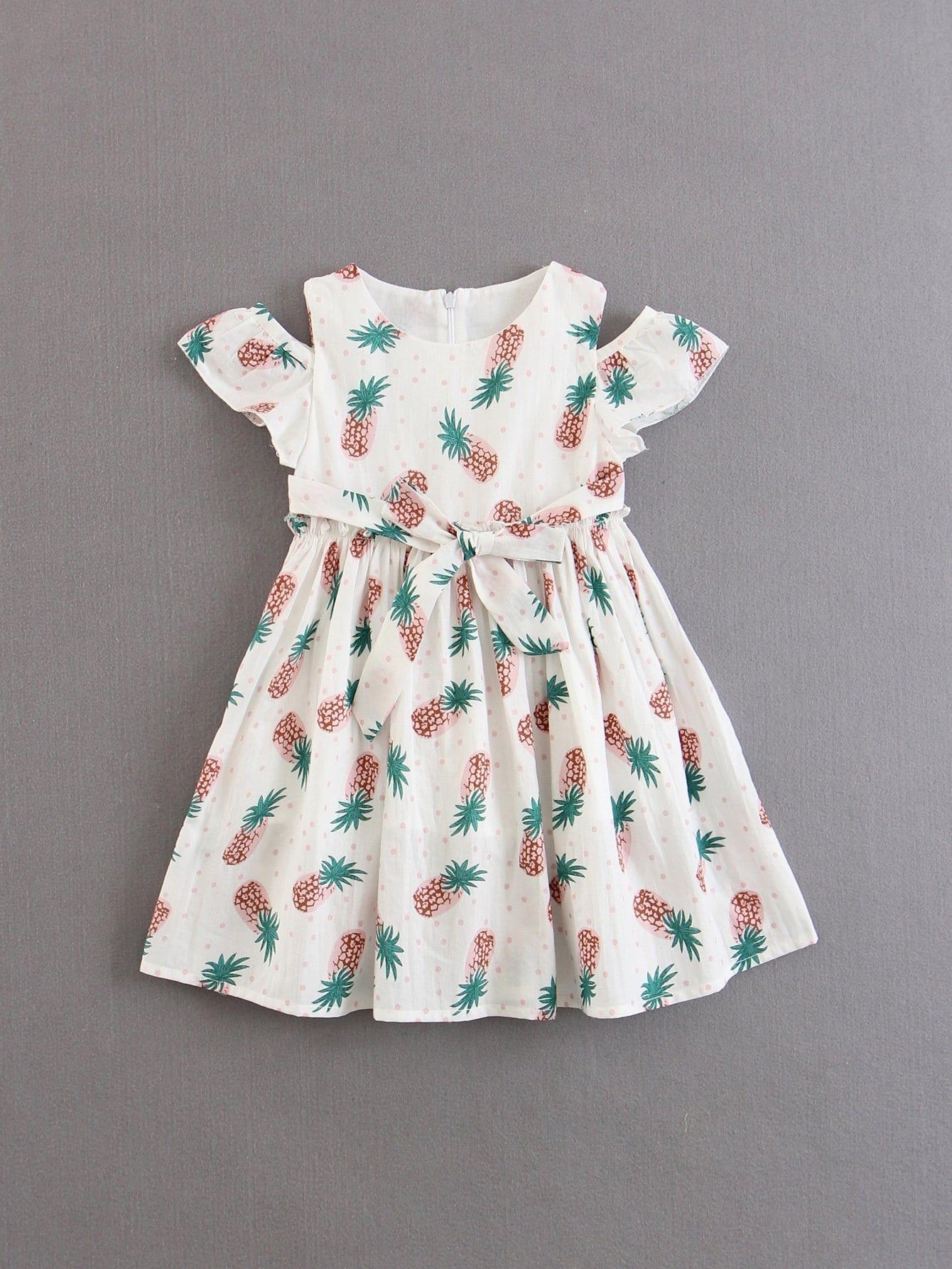 Girls Open Shoulder Frill Trim Dress open shoulder frill trim plaid dress