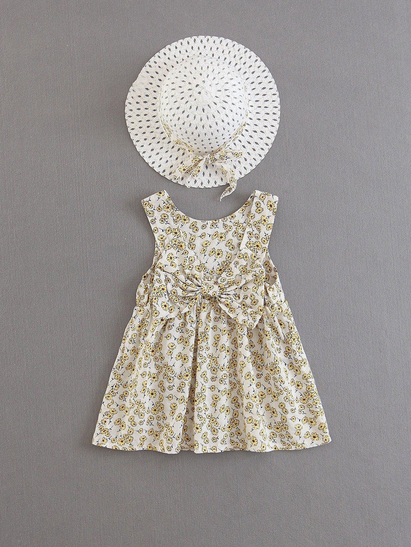Купить Платье с принтом цветы и бантом и шапка, null, SheIn