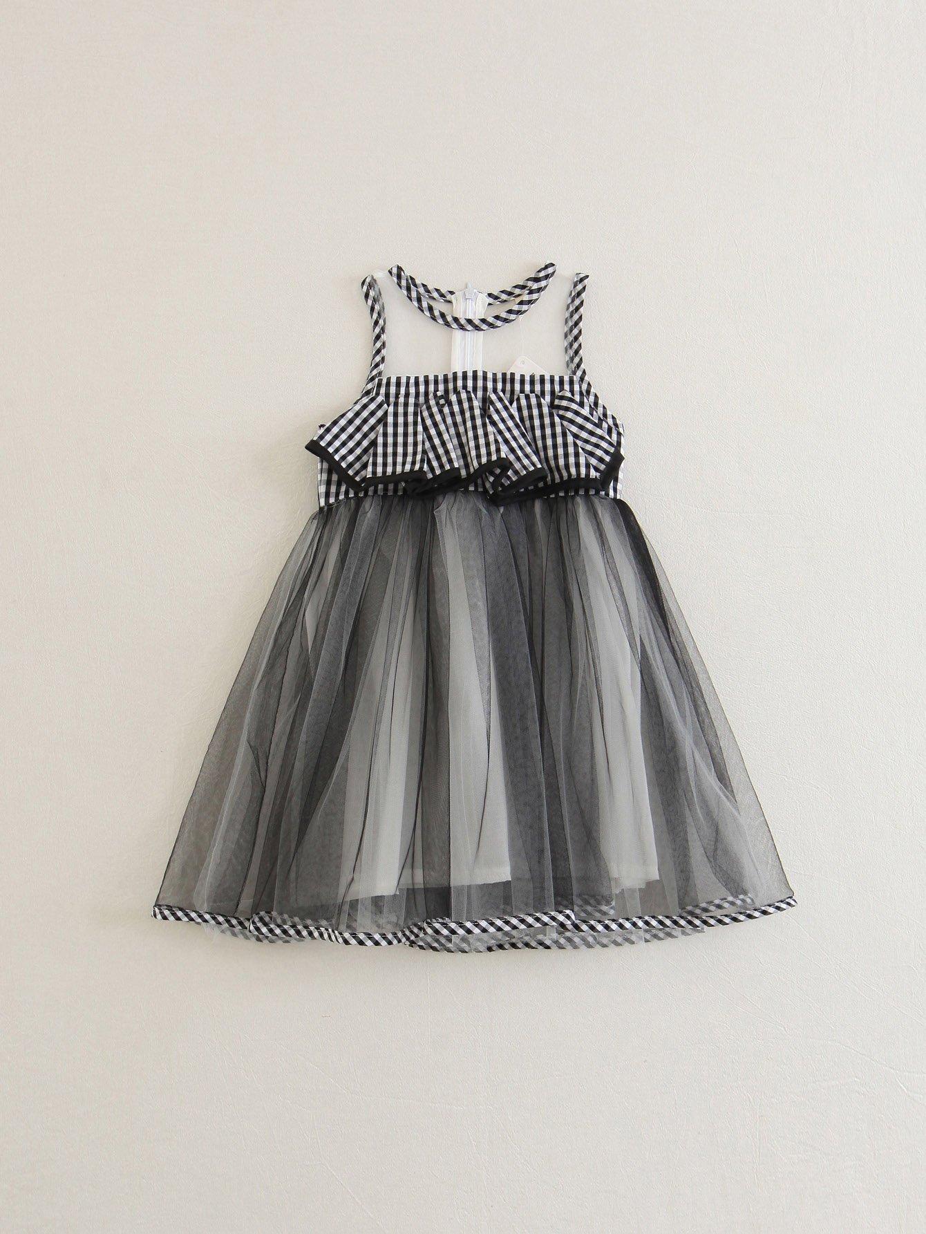 Contrast Mesh Ruffle Trim Gingham Dress ruffle hem gingham contrast mesh skirt