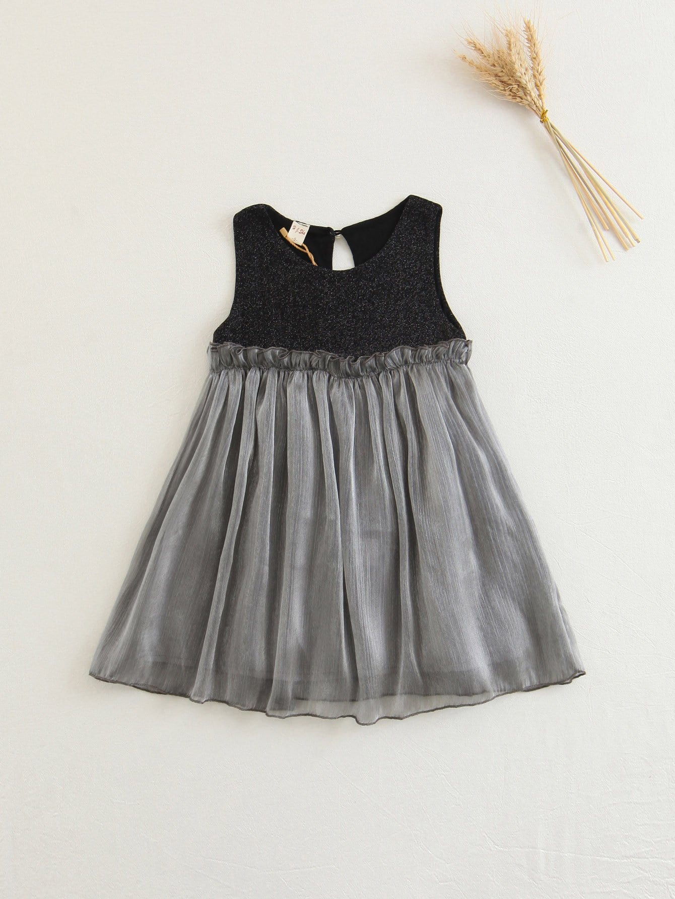 Girls Contrast Mesh Frill Trim Sparkle Dress цена