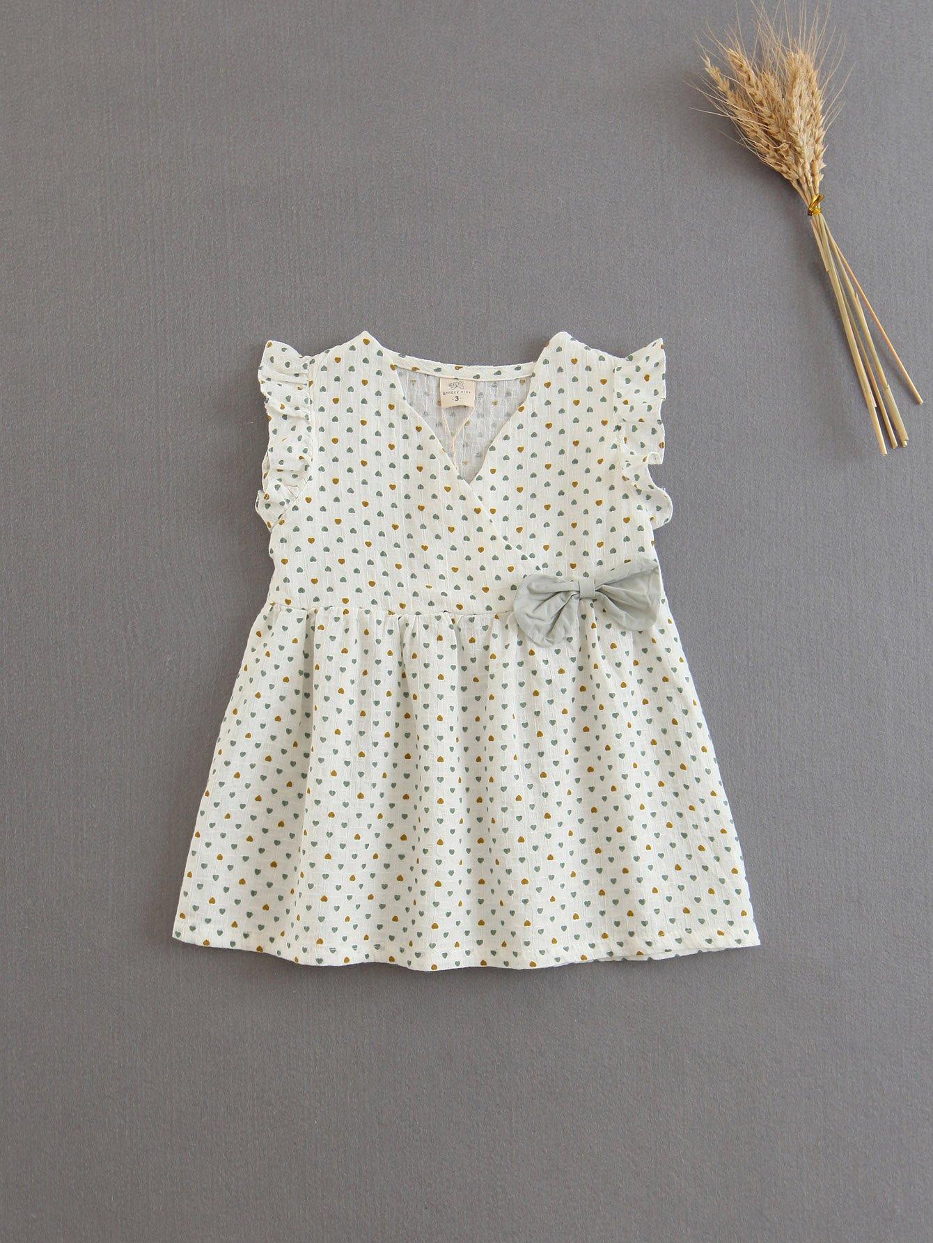 Bow Detail Heart Print Surplice Dress цена 2017