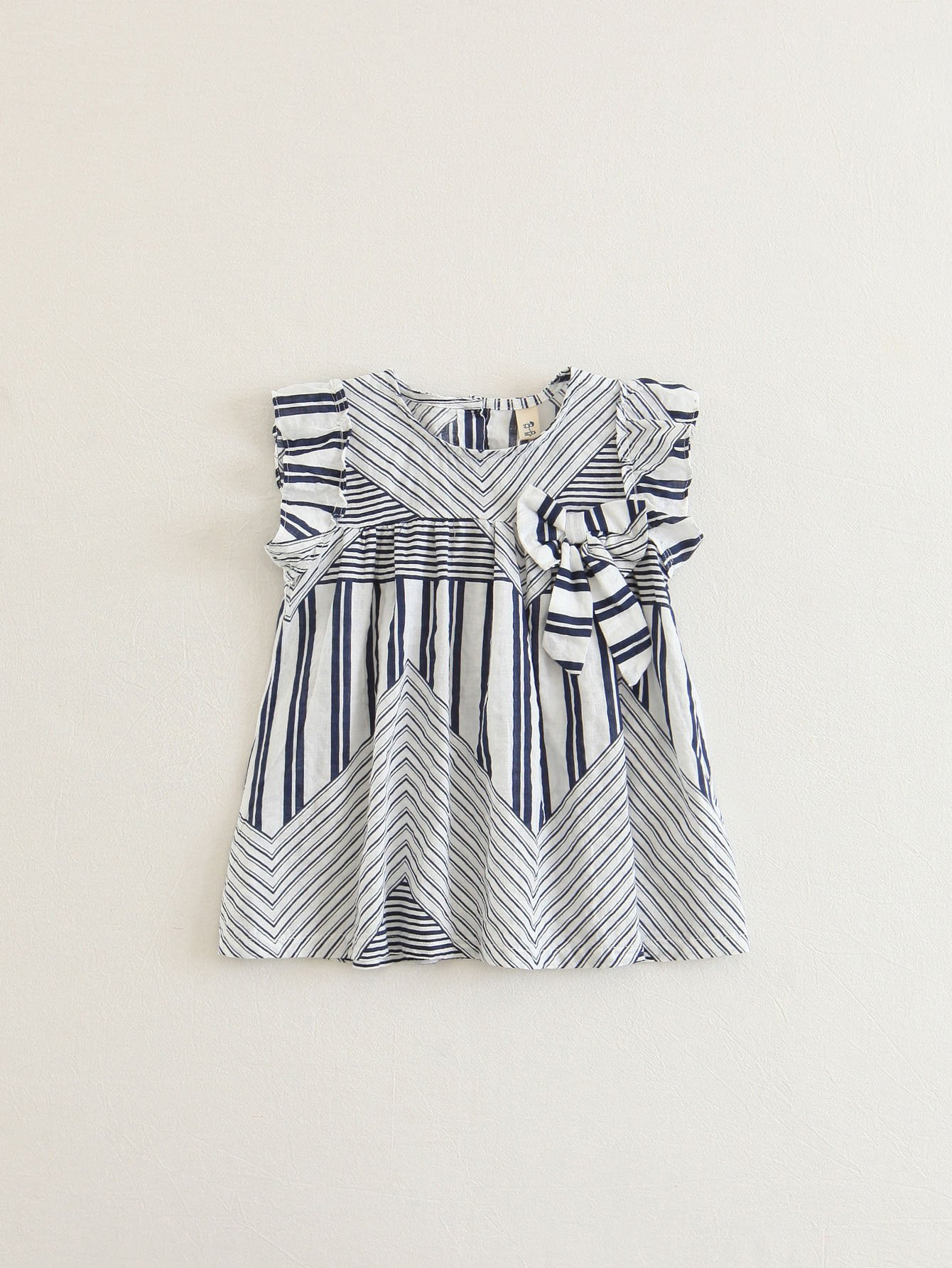 Girls Bow Detail Striped Dress 2017 new brand baby girls summer dress kids white bow dress for girls children navy leisure fashion girls clothes