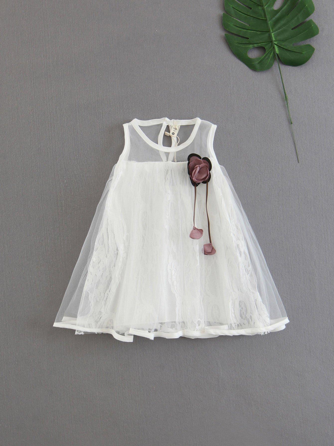 все цены на Girls Stereo Flower Detail Tiered Mesh Dress