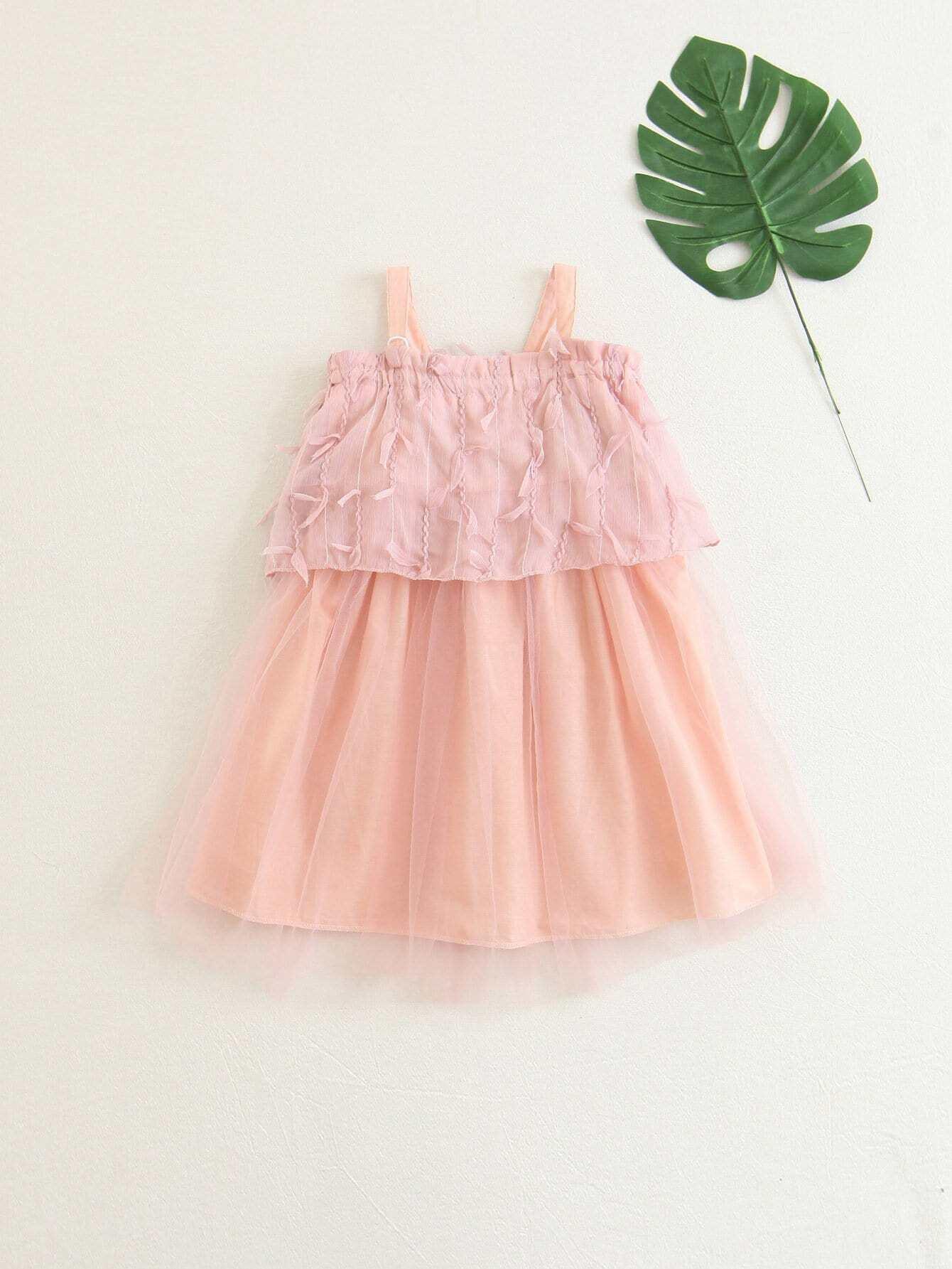 Girls Mesh Overlay Ruffle Dress ruffle mesh panel dress