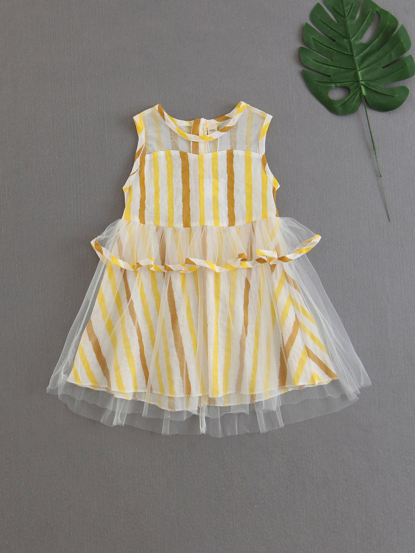 Girls Contrast Mesh Striped Dress