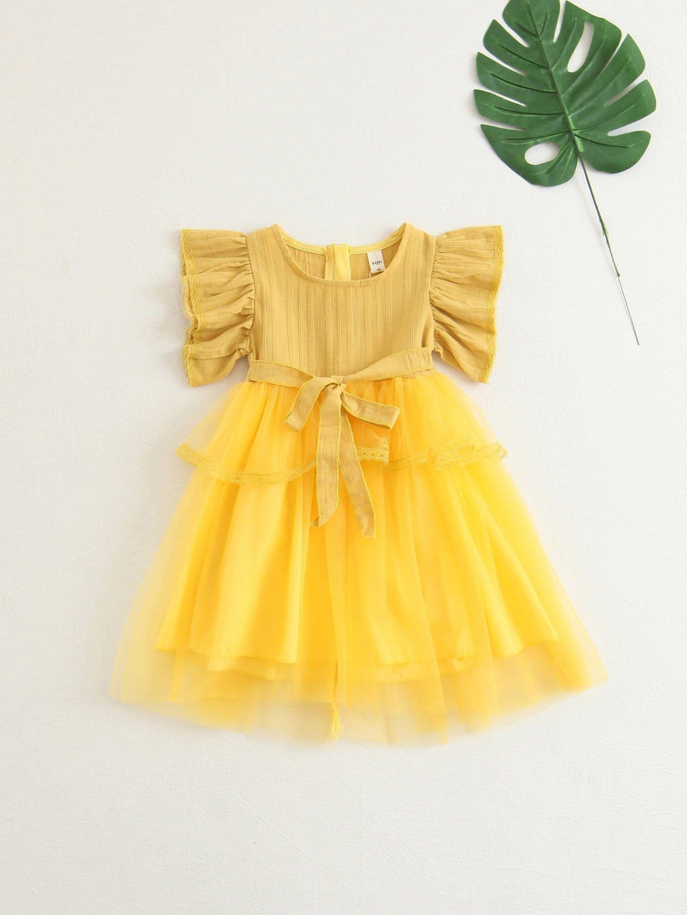 Tiered Mesh Ruffle Sleeve Dress swan print tiered mesh dress