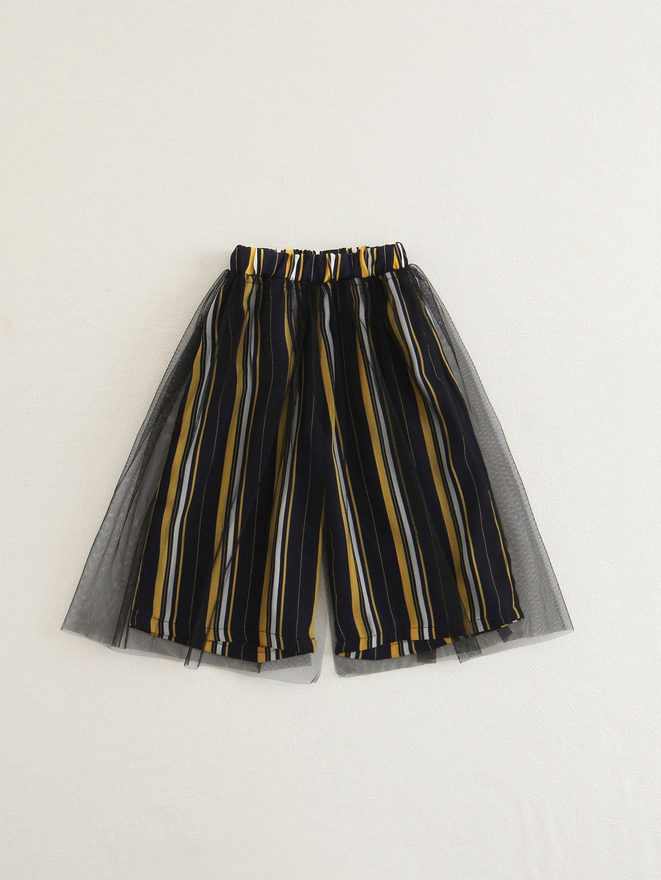 Girls Mesh Overlay Striped Wide Leg Pants