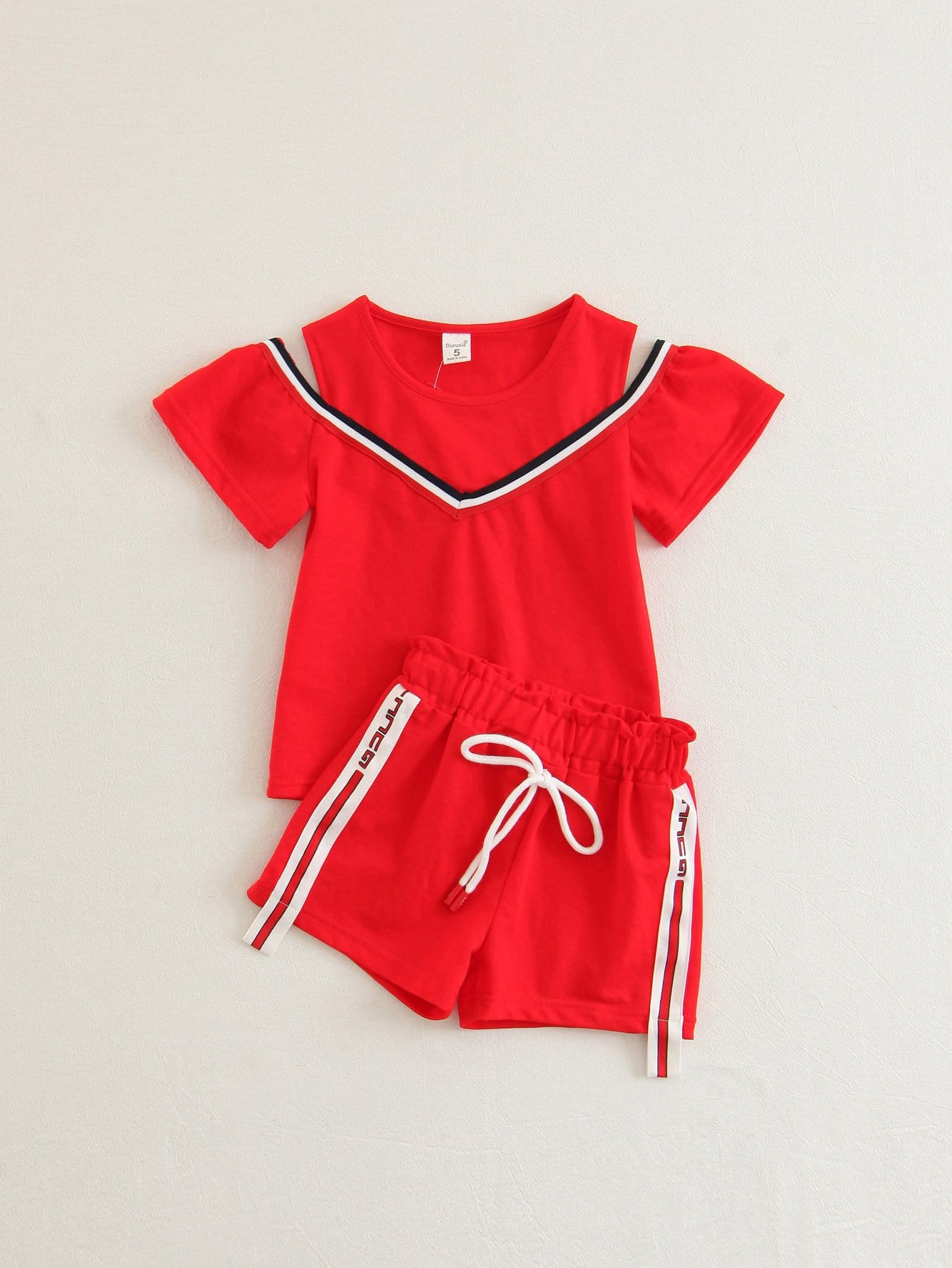 Girls Striped Tape Detail Tee With Drawstring Shorts