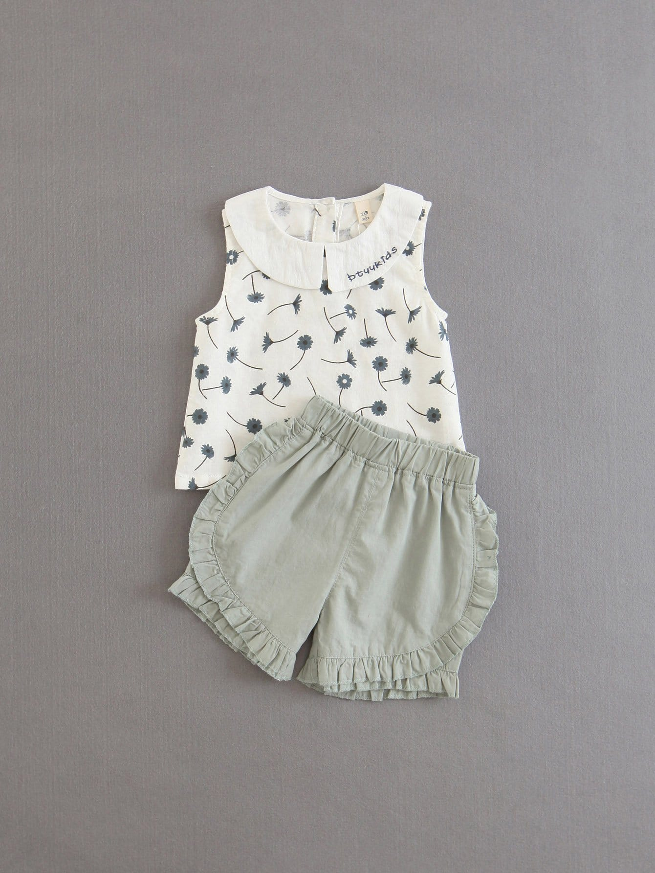 Calico Print Blouse With Frill Trim Shorts frill trim blouse with denim skirt