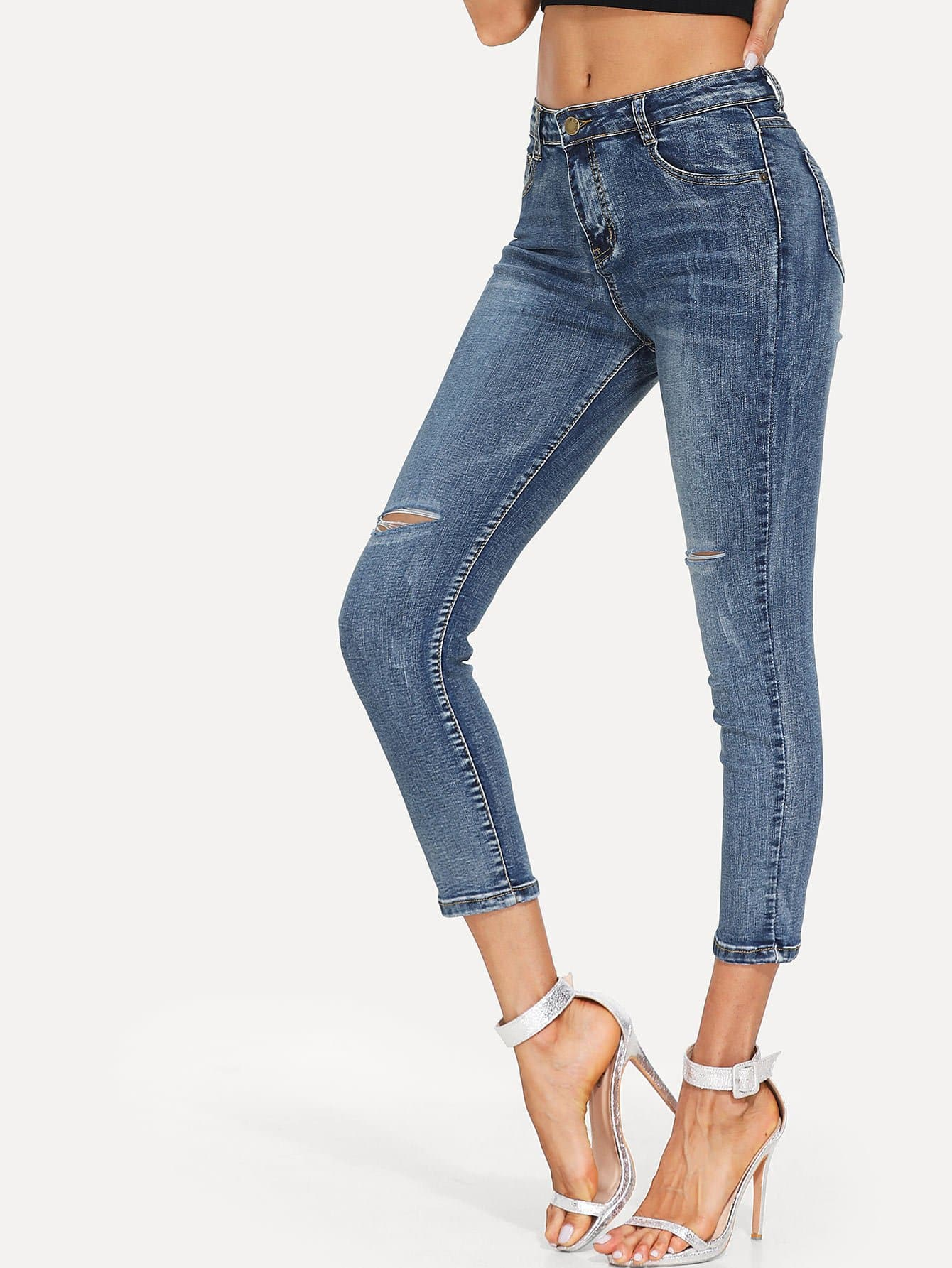 Ripped Basic Skinny Jeans 2016 hole jeans free shipping woman distressed true denim skinny jean pencil pants trousers ripped jeans for women 031