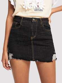 Frayed Hem Ripped Denim Skirt