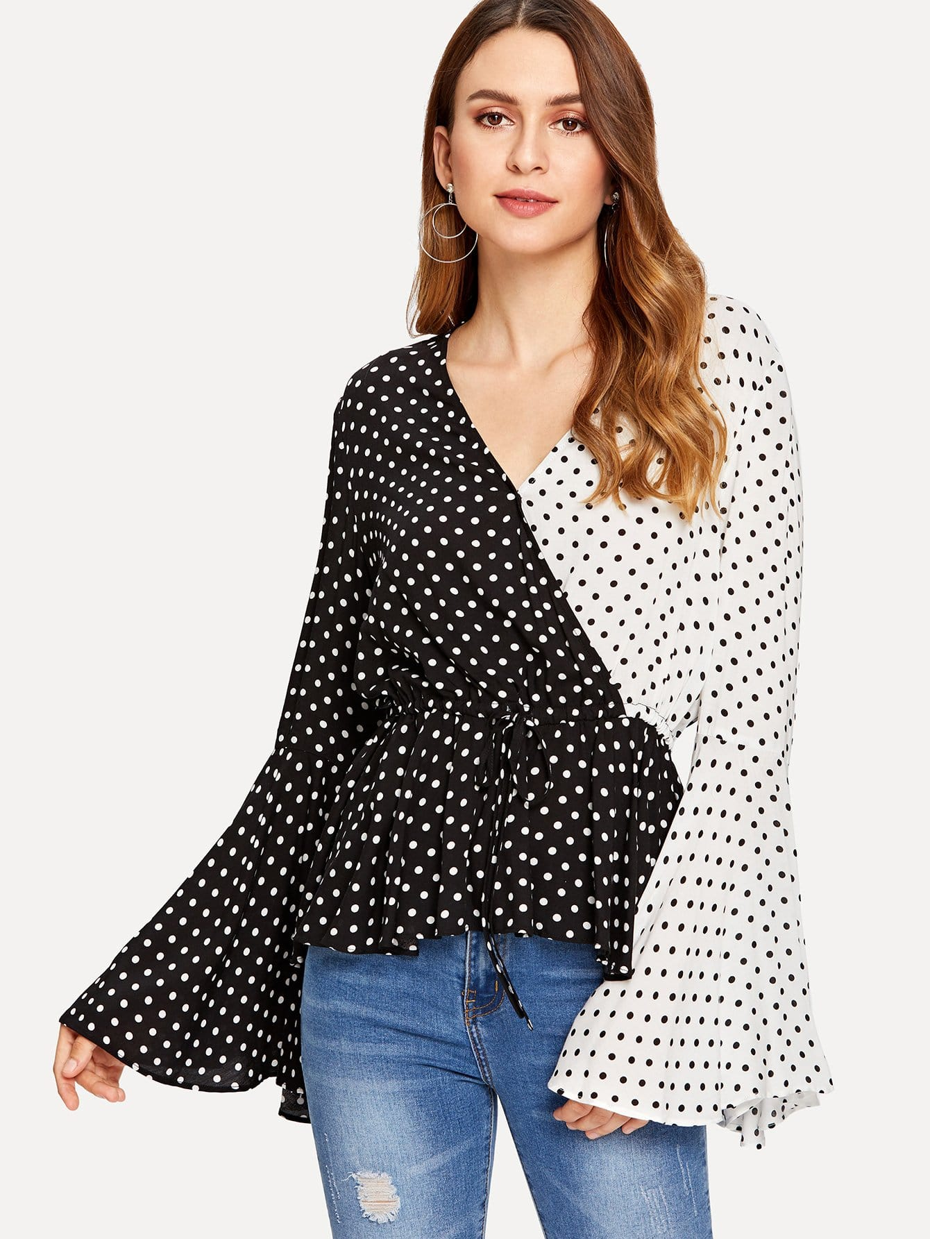 Exaggerate Cuff Two Tone Polka Dot Belted Top two tone belted trench coat
