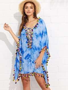 Pompom Embellished Lace Up Front Tie Dye Dress