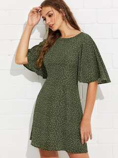 Exaggerate Ruffle Sleeve Polka Dot Dress