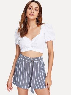 Adjustable Belted Striped Shorts