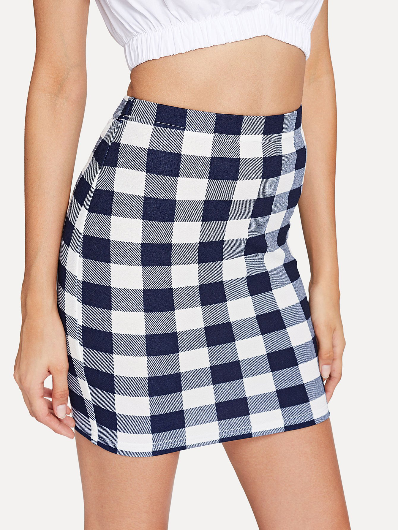 Plaid Bodycon Skirt stripe panel plaid bodycon skirt