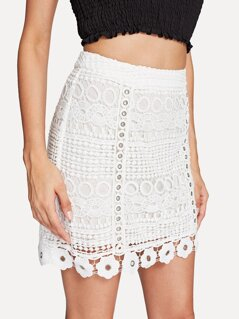 O-Ring Detail Guipure Lace Overlay Skirt