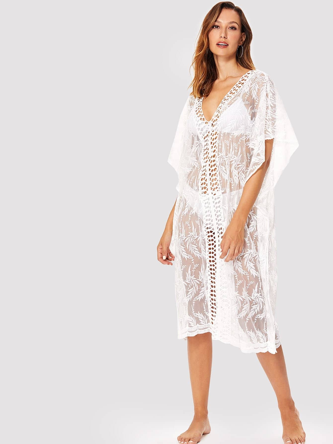 Lace Insert Embroidered Mesh Cover Up Dress plus size embroidered mesh insert party dress