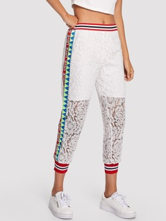 Stripe And Geo Print Floral Lace Sweatpants