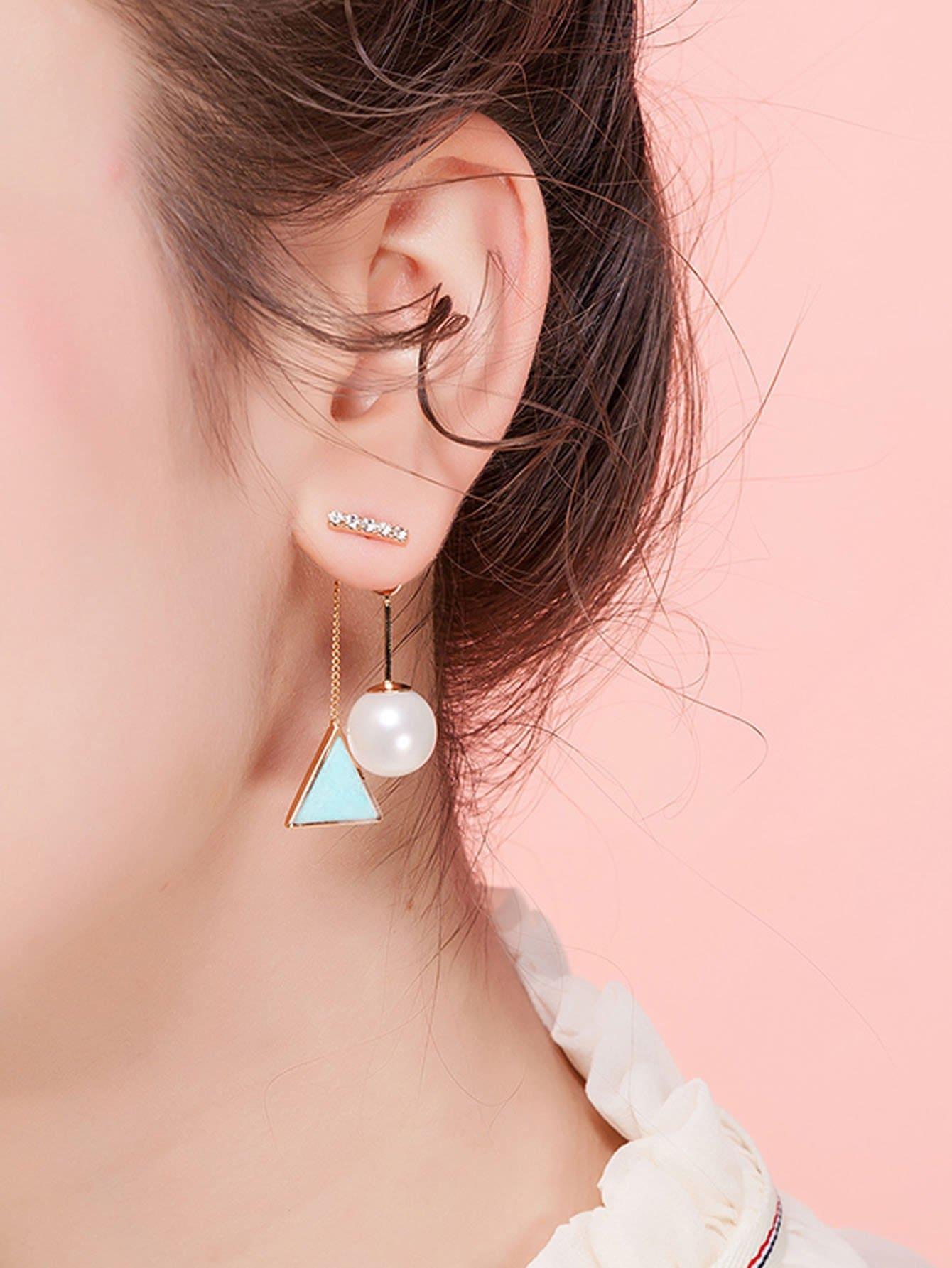 Faux Pearl & Triangle Design Drop Earrings hollowed circle faux pearl drop earrings