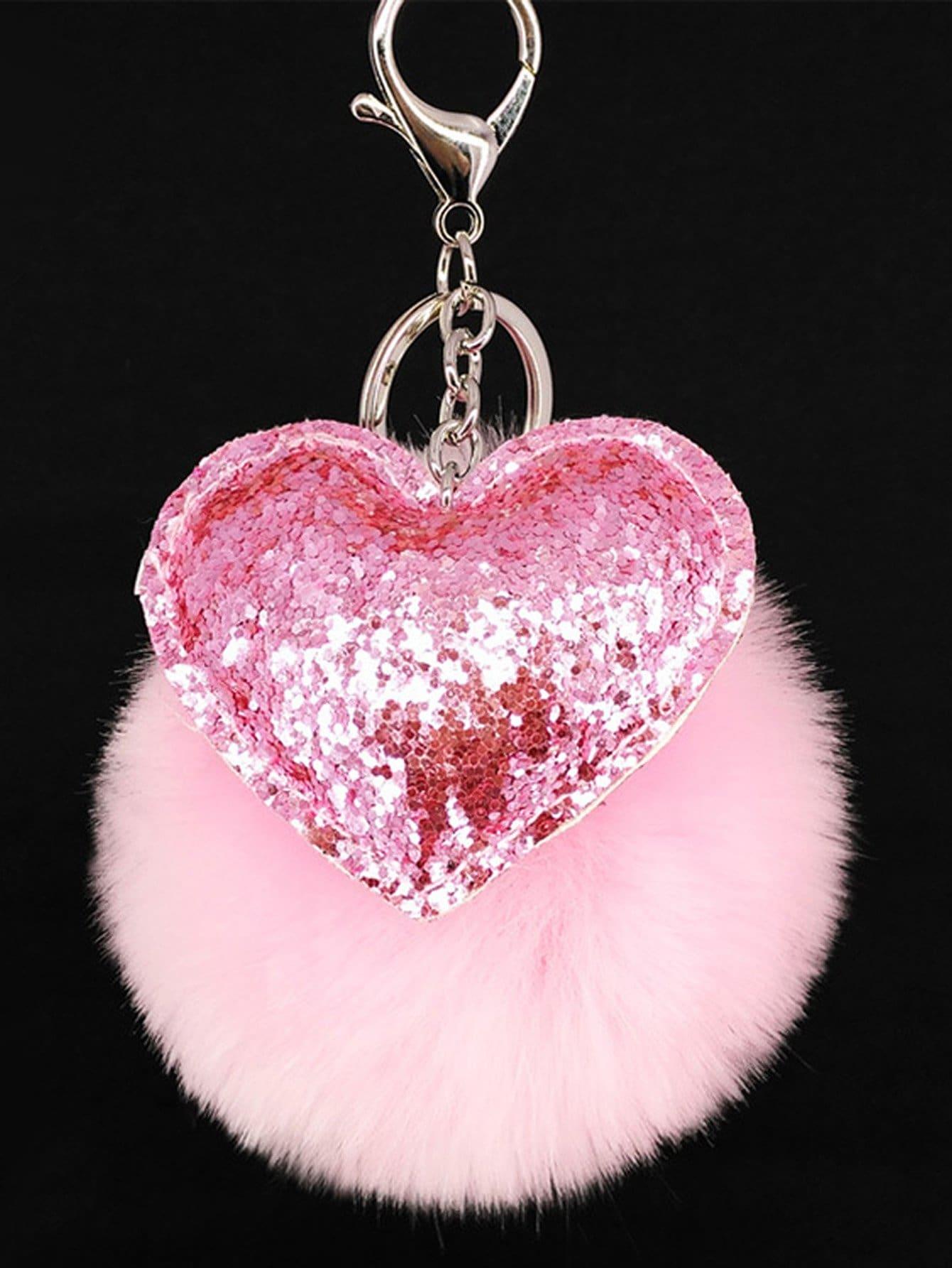 Heart Decorated Pom Pom Keychain pom pom decorated hair tie